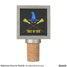 Halloween Treat Or Trick Black Wine Stopper