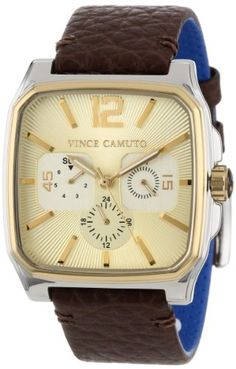 Men's Wrist Watches - Vince Camuto Mens VC1024CHTT The Sergeant Square TwoTone MultiFunction Brown Leather Strap Watch * You can get more details by clicking on the image. (This is an Amazon affiliate link)