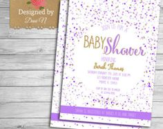 gold and lavender baby shower | baby shower Invitation, confetti baby shower, purple and gold shabby ...