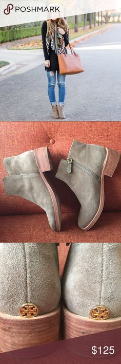 Tory Burch // Tan Suede Bootie with Gold Detail Jump into fall with these great suede booties by Tory Burch. Classic design with a little emblem detail on the heel. Pair with cuffed Jeans and a basic tee for an easy weekend outfit or with a structured black dress for work. Stacked low heel makes it a breath for all day wear. Preloved condition and shows wear on sole and natural wear to suede. A tiny amount of darkening can be noted at the tips of the boots from rubbing on denim. No trades…