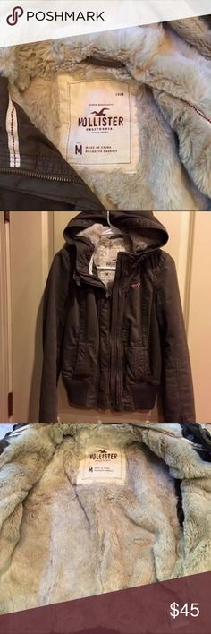 Abercrombie Brown and Faux Fur Lined Hooded Bomber Abercrombie Faux Fur Bomber Jacket Like new zipper and snap front  fur-lined bomber. Durable soft canvas outer.  Perfect for fall or winter! Fur trim on hood removable! Runs small check Abercrombie site for size chart. Abercrombie & Fitch Jackets & Coats