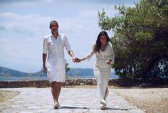 Wedding Photography in Hydra Island in Greece by Panagiotis Kounoupas Greece Wedding, Greece Islands, Destination Wedding, Cover Up, Wedding Photography, Weddings, Coat, Dresses, Fashion