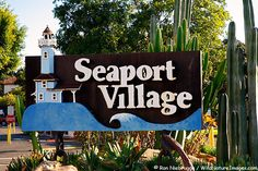 Seaport Village is a waterfront shopping and dining complex adjacent to San Diego Bay in downtown San Diego