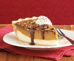 A cream cheese layer forms the base of this pumpkin pie. The walnut and toffee mixture adds a sweet and elegant topping/dcc
