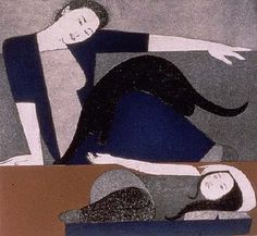 "Will Barnet, ""The Blue Robe"" (1971), etching and aquatint on Arches Cover paper, artist's proof, printed by Deli Sacilotto, New York, 23 5/16 x 29 7/8 inches, Portland Museum of Art. ""The cat came back, we thought he was a goner..."