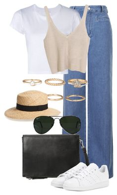 """""""Untitled #2369"""" by annielizjung ❤ liked on Polyvore featuring Topshop, RE/DONE, Forever 21, Violeta by Mango, adidas, BP. and Ray-Ban"""