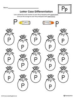 Letter Case Recognition Worksheet: Letter P Worksheet.This fun and coloring activity helps preschoolers and kindergarteners recognize the difference between the uppercase and lowercase letter P. Letter P Activities, Jolly Phonics Activities, Letter Worksheets For Preschool, Preschool Writing, Preschool Letters, Alphabet Worksheets, Preschool Learning, Letter Case, Lower Case Letters