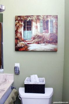 Rental bathroom reveal - fun nightlight and baskets for tissues, and pretty green and brown artwork. Brown Bathroom Mirrors, Brown Bathroom Paint, Brown Modern Bathrooms, Aqua Bathroom, Brown Bathroom Decor, Rental Bathroom, Bathroom Layout, Modern Light Fixtures, Bathroom Light Fixtures