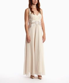 Loving this Champagne Bow Ball Gown & Shrug on #zulily! #zulilyfinds