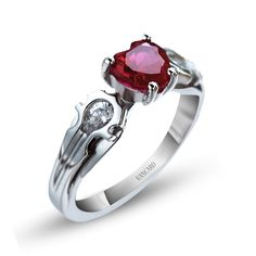 925 Sterling Silver Heart Cut Lab-created Ruby Women's Ring in Unique Game Theme Design