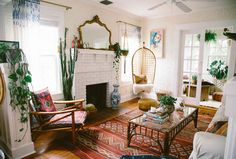 Discover Your Home's Decor Personality: 19 Inspiring Artful Bohemian Spaces - Bohemian interior with fireplace living area rugs Bohemian House, Bohemian Living Rooms, Living Room Decor, Living Spaces, Modern Bohemian, Bohemian Style, Bohemian Decor, Boho Room, Bohemian Interior
