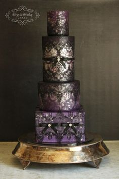 Sexy Damask and Lace Wedding Cake - Cake by Sweet and Swanky Cakes ~ Sonja McLean