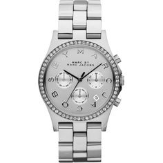MARC by Marc Jacobs 40mm Henry Chronograph Watch ($240) ❤ liked on Polyvore featuring jewelry, watches, accessories, bracelets, relógios, silver, stainless steel jewellery, stainless steel wrist watch, stainless steel chronograph watch e marc by marc jacobs watches