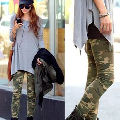 2016 Camouflage Fashion Womens Sexy Skinny Print Leggings Stretch Jeggings Pants