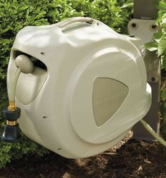 The fully automatic Retractable Hose Reel is a gardener's delight because it holds a full 100 feet of half-inch diameter hose.