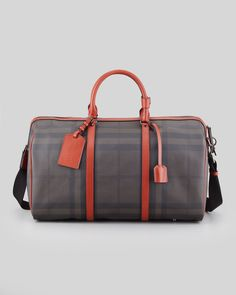Burberry Men S Coated Check Duffel Bag Gray Rust Neiman Marcus Coat