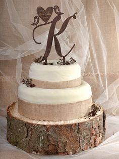 Rustic Cake Topper Wood Cake Topper Monogram by forlovepolkadots
