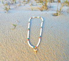"Surfer Style 18"" Shark Tooth & White Puka Shell Necklace Rasta Colors Beach Ocean http://stores.ebay.com/Hammock-Life-Merchandise?_rdc=1"