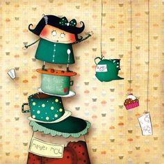 """Morgane Devillers carte postale carrée (14cm) """"Ma tasse de thé"""""""