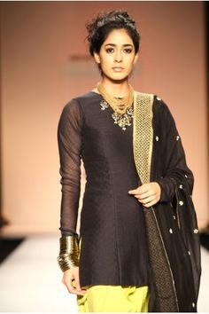 Diva Mul Suit by http://www.PayalSinghal.com/collection/PS-FW179c0.jpg Fitted Kurti & Dupatta in black silk mul with kiwi lime cotton Jodhpur Salwaar