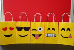 Emoji Favor Bags Instant Download DIY - Emojis Party/ Goody/ Candy Bags, Emoji…