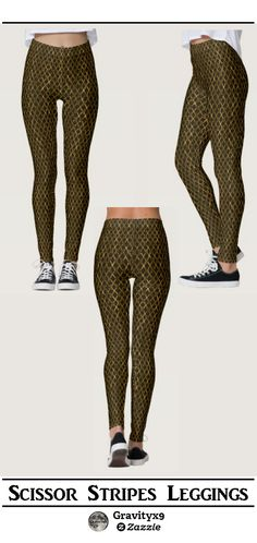 Golden Brown Scissors / Scissor Stripes Leggings - Scissors lined up, end to end, with shades rich colors and highlights. by #Gravityx9 Designs at Zazzle ~