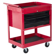 HomCom Three Drawer Top Storage Rolling Tool Chest Cart