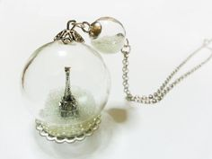Eiffel Tower Glass Globe Necklace - Winter. Magical Terrarium Snowglobe Snow Globe