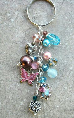 Glass beaded keychain, pink,  purple, blue <3
