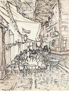 Vincent van Gogh Cafe Terrace on the Place du Forum, Arles, at Night, The Drawing