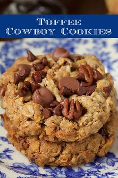 An old classic treat with a few fun twists, these delicious cookies are loaded with chocolate chips, sweet toffee bits and crisp toasted pecans. #bestcookies #cowboycookies #chocolatechipcookies Köstliche Desserts, Delicious Desserts, Dessert Recipes, Yummy Food, Cake Mix Cookie Recipes, Health Desserts, Cake Recipes, Healthy Food, Toffee Bits