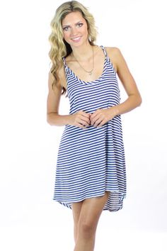 casual navy and white stripe dress....maybe a dark blue/white tank top under it. i would be too self-conscious without it.