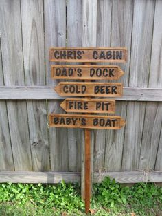 Personalized Cabin/Lake House Signs - Restroom, Cold Beer, Boat Dock- Routed. $70.00, via Etsy.