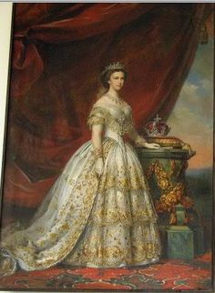 (Sisi) Empress Elisabeth, Empress consort of Austria, Queen consort of Hungary and Croatia, Queen consort of Bohemia Victorian Gown, Victorian Art, Empress Sissi, Vintage Outfits, Vintage Fashion, Court Dresses, Glamour, Women In History, Historical Clothing