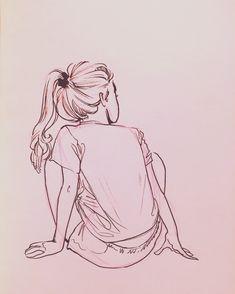 girl, art, and hair image Art Drawings Sketches, Cute Drawings, Human Drawing, Arte Sketchbook, Art Plastique, Figure Drawing, Art Inspo, Line Art, Amazing Art