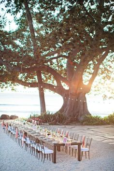 Beautiful idea for a beach wedding reception.