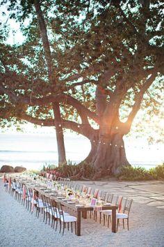 Beautiful idea for a beach wedding reception.