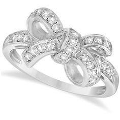 Allurez Pave Set Diamond Bow Tie Fashion Ring in 14k White Gold (0.26 ct) featuring polyvore women's fashion jewelry rings accessories white gold pave diamond ring pave setting ring white gold diamond rings white gold diamond jewelry 14k white gold ring