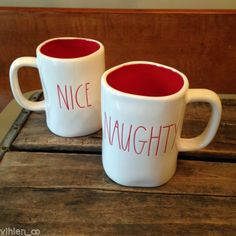 Rae Dunn Naughty & Nice Christmas Mugs (Pair of 2) ~ Magenta, Inc. coffee tea  in Pottery & Glass, Pottery & China, China & Dinnerware, Other China & Dinnerware | eBay