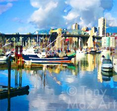 False Creek Marina, Burrard Bridge, Vancouver, Granville Island, coast of British Columbia, BC,, west coast of Canada. $188.00, via Etsy.