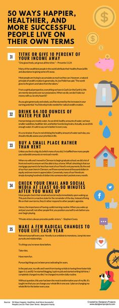 Infographics: 50 Ways Happier, Healthier, And More Successful People Live On Their Own Terms — Life Learning — Medium Ways To Be Happier, Term Life, Life Learning, Life Advice, Life Tips, Successful People, Self Development, Personal Development, Marketing