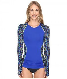 TYR - Edessa Aria Long Sleeve Rashguard (Navy/Multi) Women's Swimwear