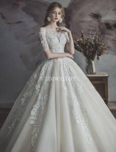 Timelessly romantic ball gowns 👉🏻 pick your fave! ㅤ Wedding dresses: ㅤ gown ballgown Fantasy Wedding Dresses, Black Wedding Dresses, Fantasy Dress, Wedding Dress Sleeves, Long Sleeve Wedding, Bridal Dresses, Wedding Gown Ballgown, Tulle Wedding, Dress Wedding