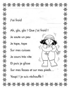 Comptine pour le froid French Teaching Resources, Teaching French, Kindergarten Activities, French Poems, French Quotes, Kindergarten Language Arts, Core French, French Classroom, French Immersion