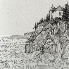 to Bass Harbor Maine last November. The kids scrambled around the cliffs while I sat and drew the lighthouse. by jercollins_com Ink Pen Art, Ink Pen Drawings, Zentangle, Tinta China, Sketch Painting, Doodle Art, Art Reference, Character Art, Art Projects