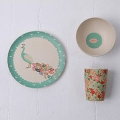 Bamboo Dinner Set - Peacock Plumage (Love Mae) Children's plate, cup and bowl