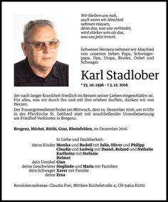 Todesanzeige für Karl Stadlober vom 09.12.2016 - VN Todesanzeigen