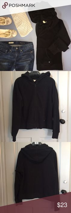 AEO 🦅 fleece zip hoodie All black fleece zip hoodie from American Eagle Outfitters. Black full zipper with 2 front pockets. Light blue eagle logo embroidered on one pocket. Fleece is smooth and nice. 100% polyester. Size XL. Check out my closet for more L/XL and 14/16 clothing. Bundles are only two items! Bundle and make a nice deal for yourself. American Eagle Outfitters Tops Sweatshirts & Hoodies