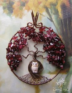 Owl in Tree of Life Wire Wrapped Pendant Jewelry Garnet Red