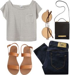 black + white striped shirt // black jeans // black + tan sandals